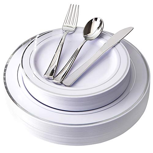 Plates Silverware Plastic (125 Piece Silver Rim Plastic Plates & Silver Plastic Silverware, Service for 25 Guests : 25 Dinner Plates,25 Dessert/Salad Plates 25 Forks,25 Knives, 25 Spoons.)