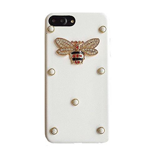Mihaha For iPhone 7Plus soft Case Rivet Honey Bee Handmade fashion and Shockproof Luxury (White)