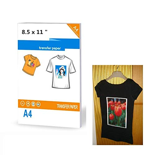 30 Sheets Heat Sublimation Transfer Paper Printable Heat Transfer Iron-On Dark T-Shirt Transfers Matte Sheets Size 8.5 X 11