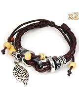 niceEshop(TM) 2 PCS x Leaf Pendant Pandora Beads Leather Bracelet Adjustable Wirstband-Brown