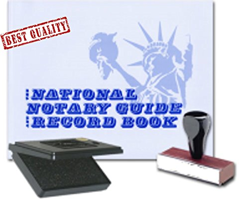 Best Stamp National - 3 Product Notary Supplies Value Package | National Notary Guide Record Book, Traditional Rubber Hand Stamp; Pad Included | Michigan