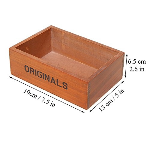 Coideal Wooden Tray Desktop Storage Holder/Remote Control Caddy Organizer Wood Box Container for Drawer, Desk, Office Supplies, Home, End Table (Vintage Wood Color, 19 x 13 x 6.5 cm) by Coideal (Image #1)