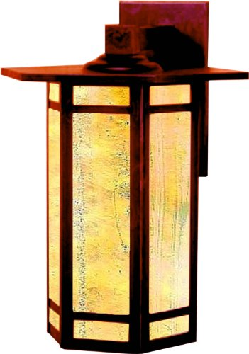 Craftsman Exterior Wall (Arroyo Craftsman ETB-11GWC-RC Etoile Collection 1-Light Exterior Wall Lantern, Raw Copper Finish with Gold White Iridescent Glass)
