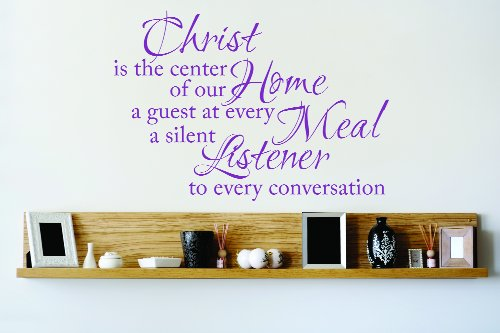 Design with Vinyl OMG 793 As Seen Christ Is The Center of Our Home A Guest At Every Meal A Silent Listener to Every Conversation Quote Decal Living Room, 22-Inch x 30-Inch