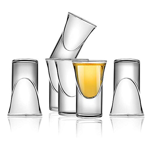 D&Z 6Pcs Shot Glass Set with Thick Cup Base for Barware, Whisky Brandy Vodka Rum and Tequila Shot Set,0.75oz