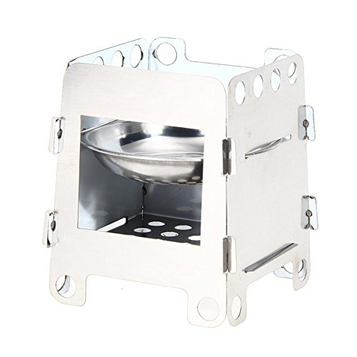 Cheap Alloet Portable Camping Wood Stove Folding Lightweight Stainless Steel Stove Outdoor Cooking Backpacking Stove