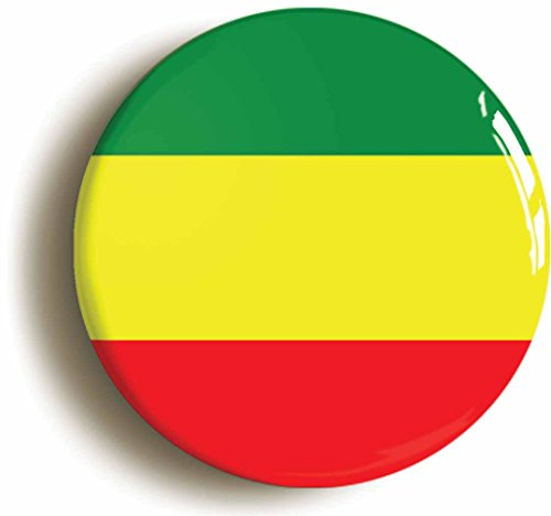 Rastafarian Reggae Colors Button Pin (Size Is 1inch Diameter)