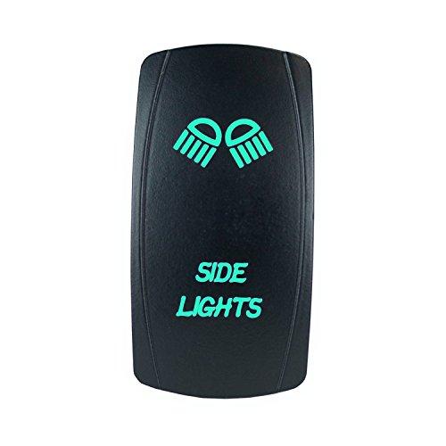 QUNQI STAR 5 pin Laser Backlit Rocker Switch SIDE LIGHTS 20A 12V On/off LED Light Toggle Switch (Green) Side Rocker