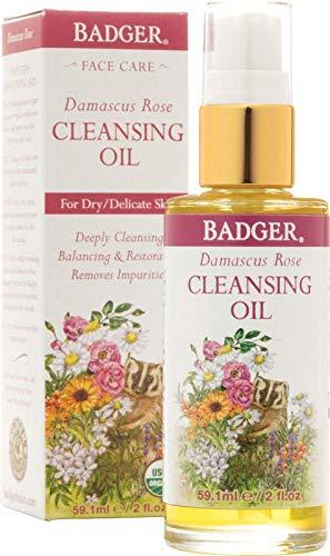 Rose Face Balm - Badger Damascus Rose Face Cleansing Oil - 2 oz
