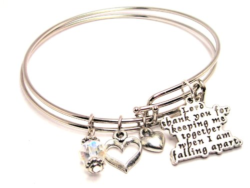 Lord Thank You for Keeping Me Together When I Am Falling Apart Adjustable Wire Bangle - Shop Chico