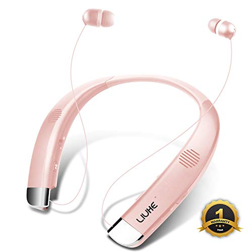 [Newest V5.0] Bluetooth Headphones Speaker 2 in 1 LIUHE Neckband Portable Wireless Headset Wearable Speaker True Stereo Sound Sweatproof Headphones with Retractable Earbuds Built-in Microphone