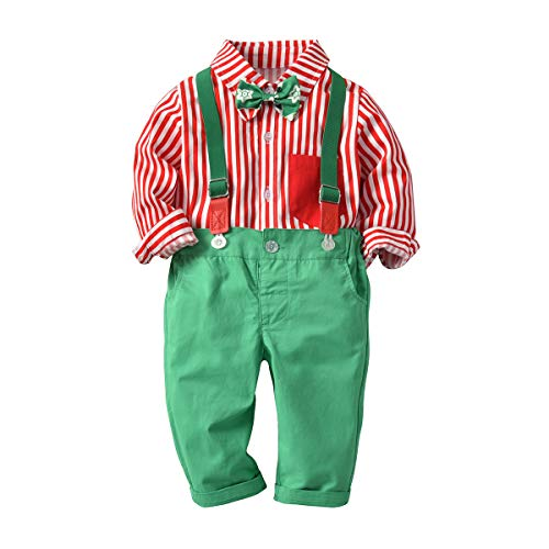 2 Pieces Baby Boys Long Sleeve Dress Tuxedo Bow Ties Shirt + Suspenders Pants Knickers Suit Toddler Gentleman Outfits Overalls Set Red Shirt + Green Pants 18-24 Months -