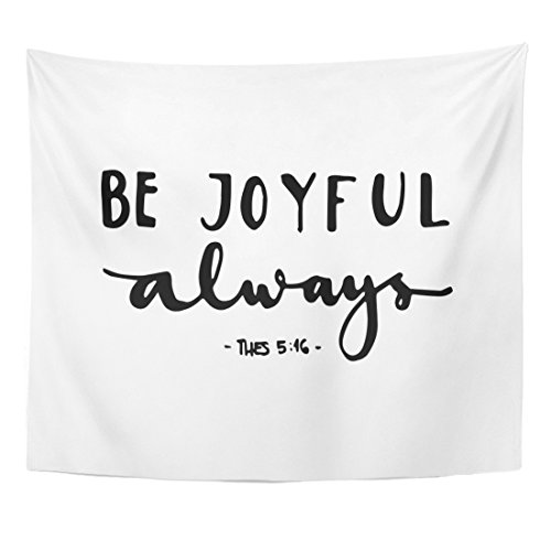 Tapestry Wall Hangings Christian - Emvency Tapestry Religious Be Joyful Bible Verse Hand Lettered Quote Modern Home Decor Wall Hanging for Living Room Bedroom Dorm 50x60 Inches