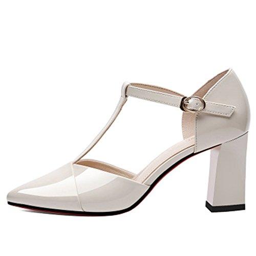De Ayuda De Zapatos White T De Plataforma De Hebilla Mujer Button Grueso Primavera Casuales Zapatos Tacón Baja Zapatos Impermeables gwR1qg