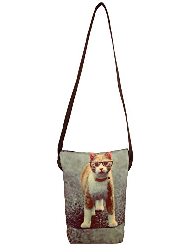 Digital Graphic Pussy Cat Viso Corpo Croce Satchel indiano Handbag - Adorabile stampa all-over - Poliestere Dupion Faux Seta - 8 x 10 x 2,5 pollici