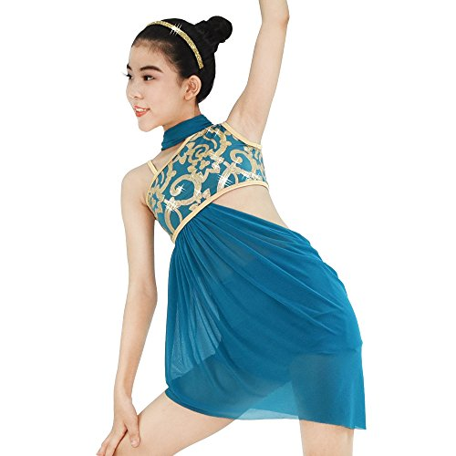 Acrobatics Costumes (MiDee Lyrical Dress 2 Pieces Dance Costumes Floral Sequins Highlow Neck Side Waist Open Drap Skirt (LC, Turquoise))