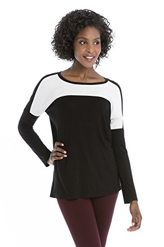 Rekucci Collection Women's Long Sleeve Casual Chic Flowy Knit Top (Woven Stretch Knit Top)