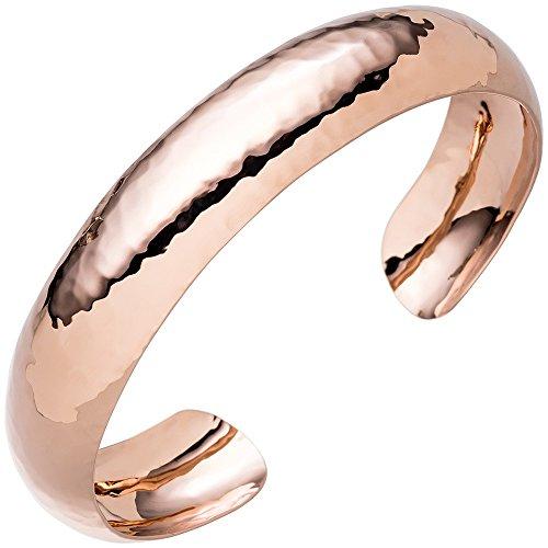 Bracelet Bracelet Ouvert En Argent 925Rouge Plaqué Or martelé brillant