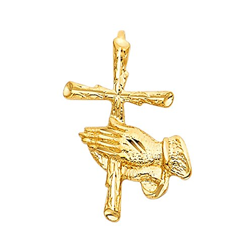 Praying Pendant Gold Plated Hands - 14k Yellow Gold Religious Praying Hand with Cross Pendant - Height 23 MM Width 14 MM