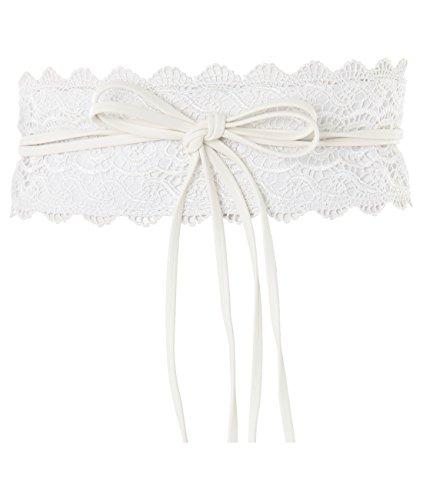- 15295-CRM-OS:KRISP Crochet Waist Belt, Cream,One Size