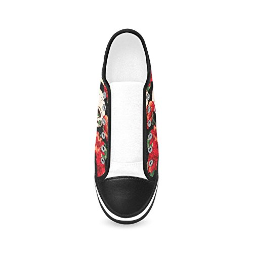 D-story Custom Skull E Red Flower Womens Shoes In Canvas Antiscivolo Fashion Sneaker