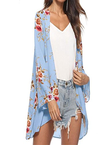 Bow Large Ships Floral (ANJUNIE tops Women Blouse, Floral Cover Casual Tops Loose Kimono Cardigan Capes(Blue,L))