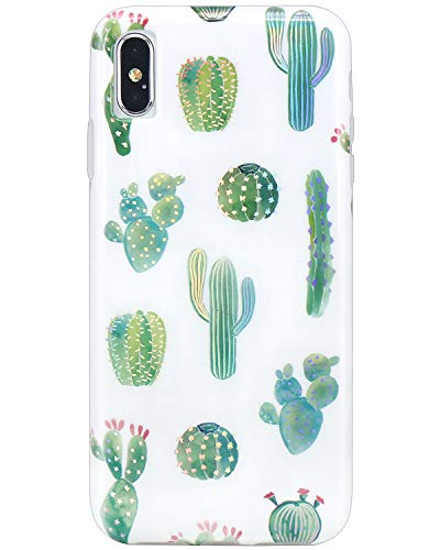 JIAXIUFEN Shiny Change Color Green Cactus Marble Slim Shockproof Flexible Bumper TPU Soft Case Rubber Silicone Cover Phone Case for iPhone Xs Max 2018 6.5 inch