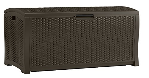 Suncast 122 Gallon Resin Rattan Patio Storage Box – Waterproof Outdoor Storage Container for Toys, Furniture, Yard Tools – Store Items on Deck, Porch, Backyard – Java