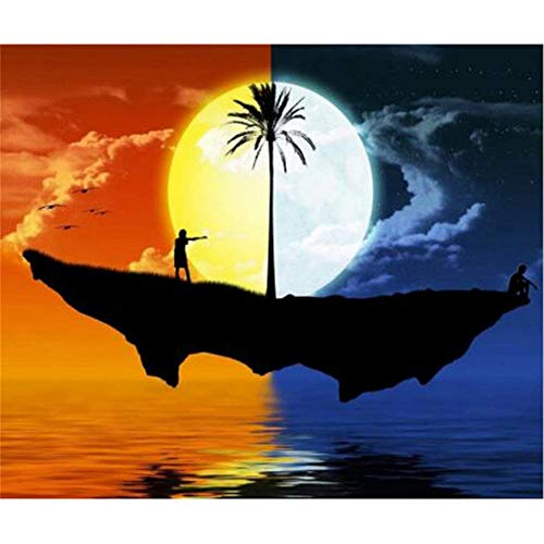 5D DIY Diamond Painting Kits Sun Moon Tree Full Drill Rhinestone Embroidery Cross Stitch Painting for Home Wall Decor Gift Cabinet Decoration -