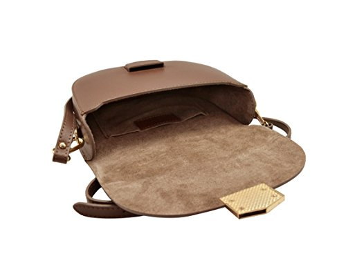 Italy in Made wallet mini stiff grained cluth HELEN bag strap Brown Italian shoulder Saddle crossbody leather TaOxq6wC