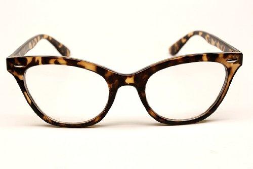 E322 Cat Eye Teacher 80s Retro Clear Sunglasses Eyeglasses (brown tortoise, clear)