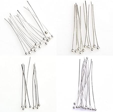 super1798 100Pcs Silver Tone Ball Head Pins Jewelry Making Findings DIY Crafts Headpins Silver 30 mm