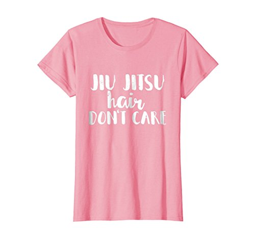 Womens Jiu Jitsu Hair Don't Care BJJ Funny T Shirt Large Pink ()