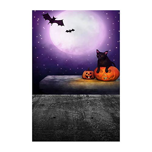 Visit Beautiful Bat - Cinhent Halloween Decoration Backdrops, Vinyl 3x5FT Fireplace Background Photography Studio, Waterproof, Party, Baby Take Photos Tools - Black Cat Bat Beautiful Moonlight (90 × 150 cm)