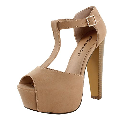 Breckelles - Womens Brina Peep Toe High Heel T-Strap Platform Sandal Natural 38026-11B(M)US