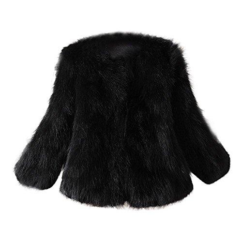 Di Fluffy Trada Cappotto Lunghe Capispalla Pelliccia A Morbida Sintetica Giacca Donna Nero Gilet Inverno Maniche L54RAj