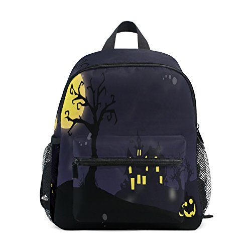 - imobaby Cartoon Happy Halloween Night Pumpkins Castle Light Unisex Outdoor Daypackes Bags 2th 3th 4th Grade School Backpack for Kids Boys Girls