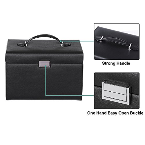 BEWISHOME Jewelry Box Organizer Case Display Storage W/Travel Case Large Mirrored 10 1/4'' x 7 1/16'' x 6 11/16'' Black PU Leather for Girls Women SSH53B by BEWISHOME (Image #5)