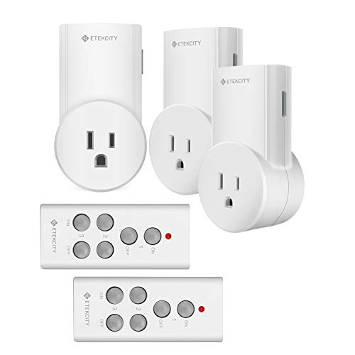 Etekcity Remote Control Outlet Kit Wireless Light Switch for Household Appliances, Unlimited Connections, Up to 100 ft. Range, FCC Certified, ETL Listed, White (Learning Code, 3Rx-2Tx)