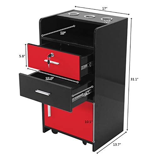 Salon Cabinet Trolley Barberpub Locking Rolling Beauty Salon Trolley Cart Hair Dryer Holder Stylist Equipment Drawer Rolling Wheel&Lock,Spa 3-layer Storage Shelf with 3 Dryer Holes (Black&Red)