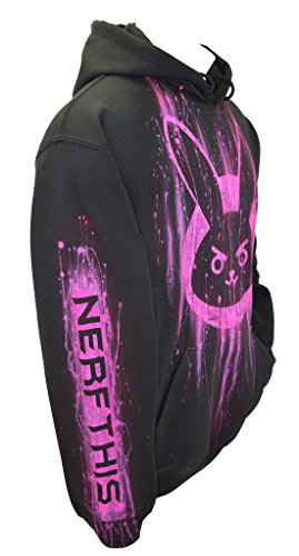 Airbrushed Clothing (Sid Vicious Overwatch Dva Hoodie, Airbrushed, Pullover, Name, Adult, Large, Black)