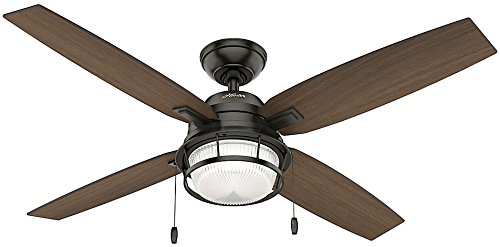 Hunter Indoor / Outdoor Ceiling Fan with LED Light and pull chain control - Ocala 52 inch, Nobel Bronze, 59214 (Ceiling Fan Light Turns On By Itself)