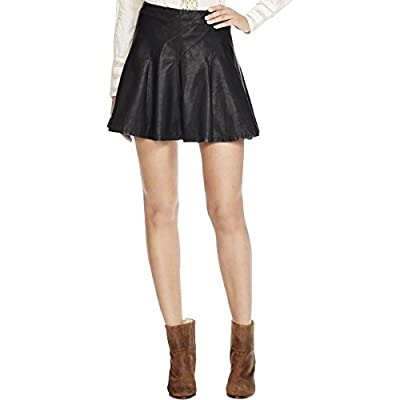 Free People Womens Faux Leather Back Zip Flare Skirt Black 10