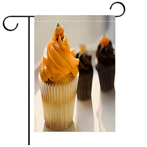 BEICICI Double Sided Premium Garden Flag Orange Vanilla and Chocolate Cupcakes for Halloween Decorative Deck, Patio, Porch, Balcony Backyard, Garden or Lawn]()