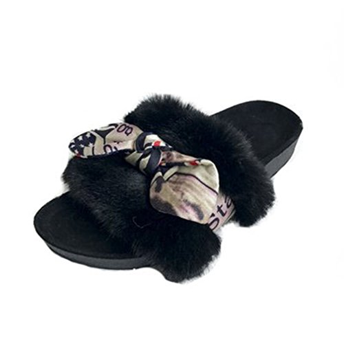 GIY Womens Winter Warm Slippers Fur Indoor Slippers For Women Bowknot Cozy Plush Non-slip House Slippers Black 9QNSdh