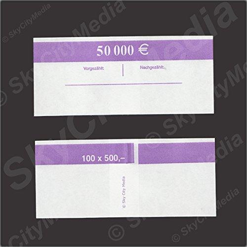 Fascette per banconote euro Je 50X (500& # x20AC; fascetta) Denaro fascetta di carta per denaro buendel capacità Je 100banconote SkyCityMedia