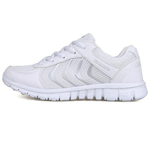wyhweilong Women Mesh Lace Up Trainers Comfort Running Shoes Lightweight Gym Shoes White PIJGPm