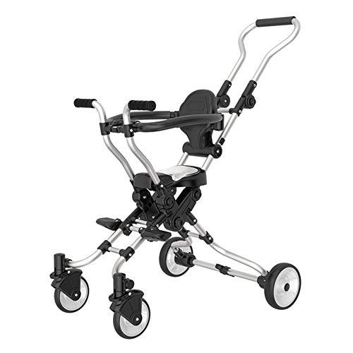 Carro de los niños, ligero plegable triciclo de cinco ruedas bebé con sistema de seguridad y multi-posición reclinable...