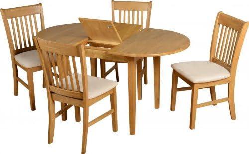 Juego de mesa extensible oval Oxford en roble, con 4 sillas con ...