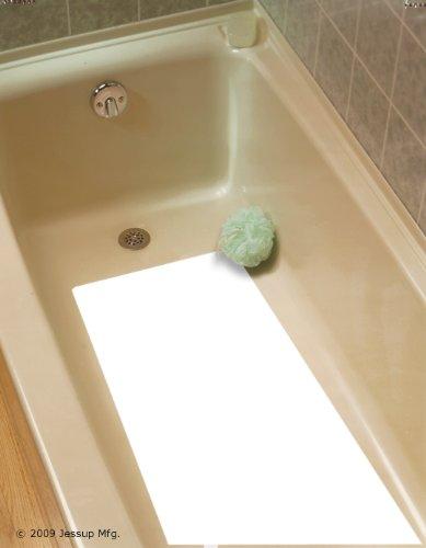 "Safe Way Traction 16"" X 34"" White Adhesive Vinyl Anti Slip Non Skid Safety Bath Mat"